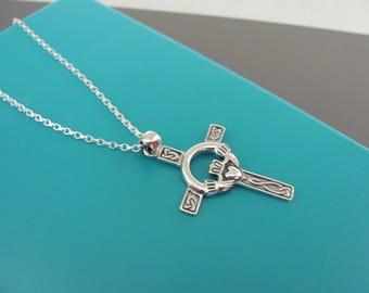 Silver Celtic Cross necklace, Claddagh Cross necklace, Irish Love Cross necklace, Claddagh cross, Sterling silver cross, Unisex man necklace