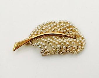 Vintage Brooch with Seed Pearl / Leaf Brooch