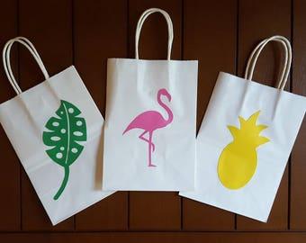 Tropical Favor Bags, Pineapple Favor Bags, Flamingo Favor Bags, Gift Bags, Set of 12