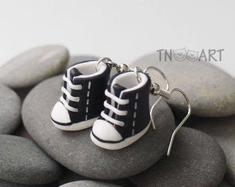 Cute Tiny Sneakers Earrings handmade polymer clay jewelry black white color miniature