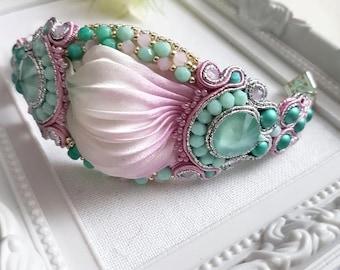Silk Shibori Bracelet, Wedding Shibori Bracelet, Soutache Bracelet, Wedding Shibori Jewelry, Soutache Shibori Bracelet