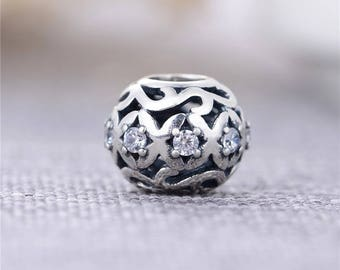 Sterling Silver Cubic Zirconia Filigree Openwork Charm Bead for Bracelet Making