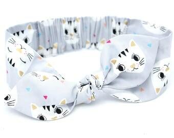 Cats gold baby headband, grey gold cats baby, knot baby headband, baby girl headband, metallic gold, grey cat headband