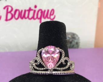 Queen Crown Ring Pink Zircon Platinum Plate Scroll Pattern  Size  8