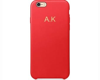 Personalised Red PU Leather Phone Case for Apple iPhone 5 6 6s 7 8 10 X Plus Embossed Cover Name initials Customized Monogram