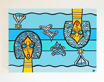 ORIGINAL pop art painting acrylic on canvas - painting in acrylic on canvas - up and down blue - world wide free shipping!