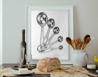 Measuring Spoons Charcoal Drawing Print or Original - Kitchen Wall Art - Cooking - Baking - Kitchen Decor Modern - Kitchen poster print