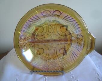 Vintage Marigold Carnival Glass Fleur de-lis Pattern