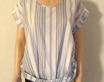 Tunic top blue white striped cotton blouse loose 40/42/44/46/48