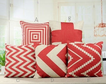 Chevron Red Geometric Decorative Pillow Covers Throw Pillowcases Cushion Covers for Home