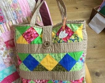 Handmade patchwork tote bag