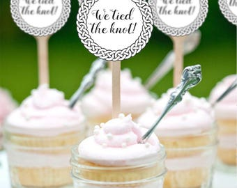 Wedding Cupcake Toppers, We Tied the Knot Cupcake Toppers, Printable Wedding Decor, Celtic Knot, Irish Wedding INSTANT DOWNLOAD 0228
