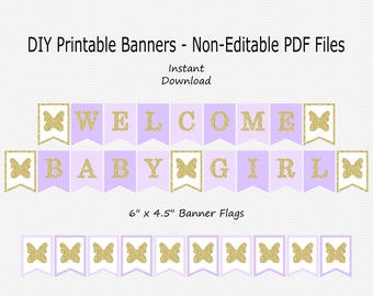 Welcome Baby Girl Banner with Butterflies - Pale Purple, Pastel Purple & Gold Glitter - PRINTABLE - INSTANT DOWNLOAD