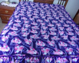 Hearts handmade fleece blanket