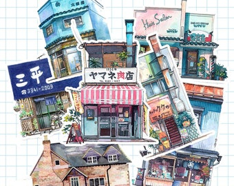 Japanese shops stores achitectures Planner Stickers