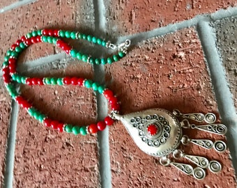 Morrocan Berber silver Tuareg Ethnic Tifinagh Turquoise and red Coral beaded handmade necklace.