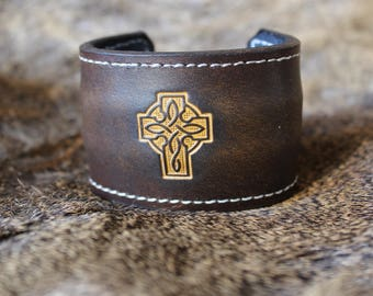 Engraved Celtic Cross leather bracelet