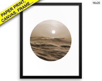 Sunset Wall Art Framed Ocean Canvas Print Sunset Framed Wall Art Ocean Poster Sunset sepia art print photography ocean photography seascape