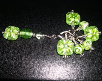 Painted Green Glass Stitch Marker