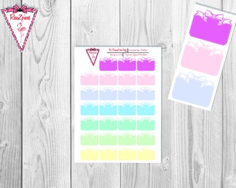 Printable White Dotted Bow Boxes (Light Colors) - Functional Stickers w/Cut Line