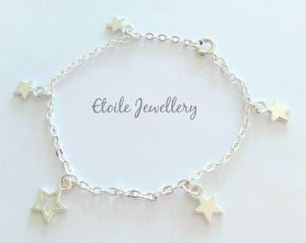 Silver Star Charm Bracelet, Silver Chain Bracelet, Silver Star Bracelet, Star Charms, Star Bracelet, Silver Bracelet