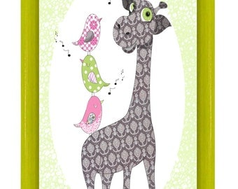 Illustration A4 print, Giraffe and her little birds wall decor for child's room