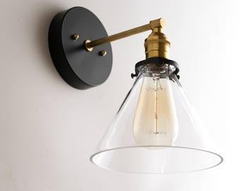 Sconce - Modern Wall Sconces -  Black Gold Wall Light - Brass Light Fixture - Modern Farmhouse