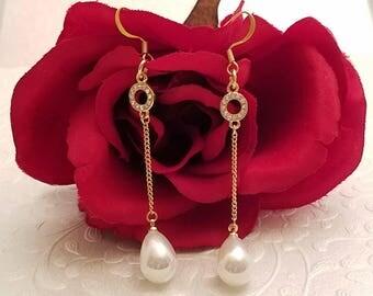 Pearl Teardrop, Gold Dangle Earrings, Pearl,