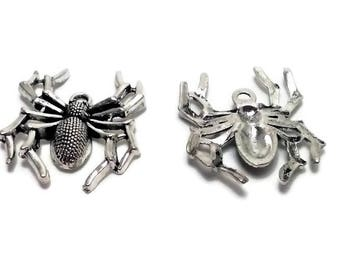 Large Spider Charm Antique Silver Tone - Spider Pendant - Halloween Charm - Spider, USA Seller, 34mm - 2 pcs (C153)