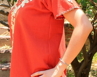 Hand embroidered blouse,Color: Orange, Short Sleeve, colorful flower ornaments hand made Mexican Blouse, Women Clothing, Handicraft Clothing