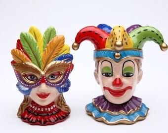 Mask Clown and Girl Salt and Pepper Shaker Set (48516)