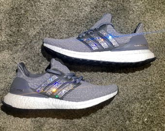 crystal Adidas Ultra Boost Bling Shoes with Swarovski Crystals Women's Running Shoes Gray