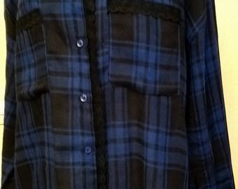 Blue and black Plaid cotton long sleeve shirt