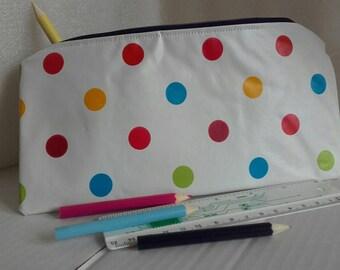 White PVC polka dot purse/pouch