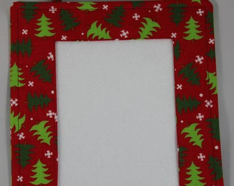 Fabric picture frame for cross-stitch, needlework, or photos