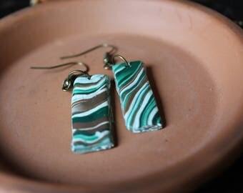Handmade marble clay earrings