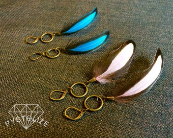 Real Laced Feather Earrings! -boho feathers, long feather earrings, real feathers, feather jewelry