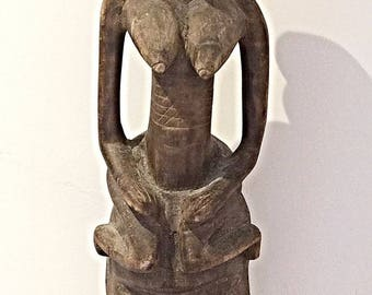 Rare and important primitive mask statue very old African ART - 65 cm.