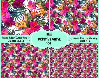 Orchids Hibiscus Floral Printed Pattern Vinyl/Siser HTV/ Oracal/ Indoor Vinyl/ Outdoor Vinyl/ Heat Transfer Vinyl- 104