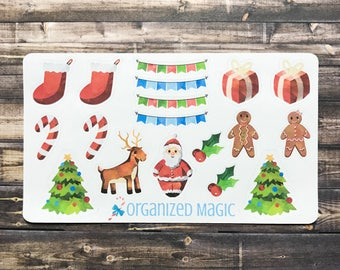 Christmas planner stickers, holiday stickers