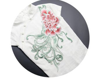 Pink Floral Appliques, Embroidered Patches