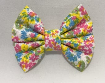 Summer Floral - Fabric Barrette Bow
