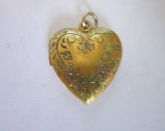 Antique Gold Filled & Rose Gold Engraved Photo Locket Necklace Pendant Heart Shaped