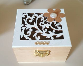 A Small Cream and Wooden Trinket Box