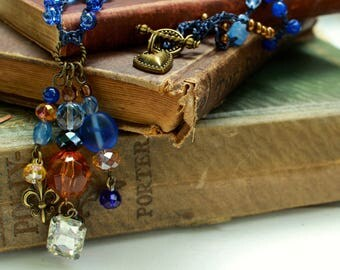Amber and Blue Bohemian Crocheted Bead Necklace with Crystal Drop Pendant