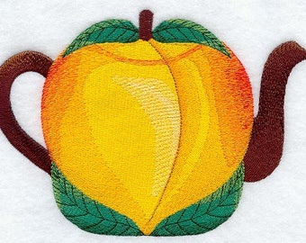 Peach Teapot, Embroidered Fruit Dish Towel, Tea Towel, Fruit Kitchen Decoration, Kitchen Accessory, Housewarming Gift