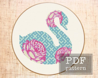 Floral cross stitch pattern Modern cross stitch Swan embroidery Nursery cross stitch Baby girl gift DIY Geometric cross stitch Kids room