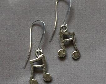 Music note charm dangle silver fishhook earrings