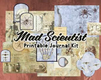 Mad Scientist - printable junk journal kit / vintage digital scrapbooking paper set /steampunk, gothic, halloween, science /instant download
