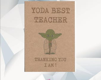 YODA BEST TEACHER Thanking You I Am! / Star Wars, Yoda Card / Teacher Thank You Card / Card For Teacher / Handmade